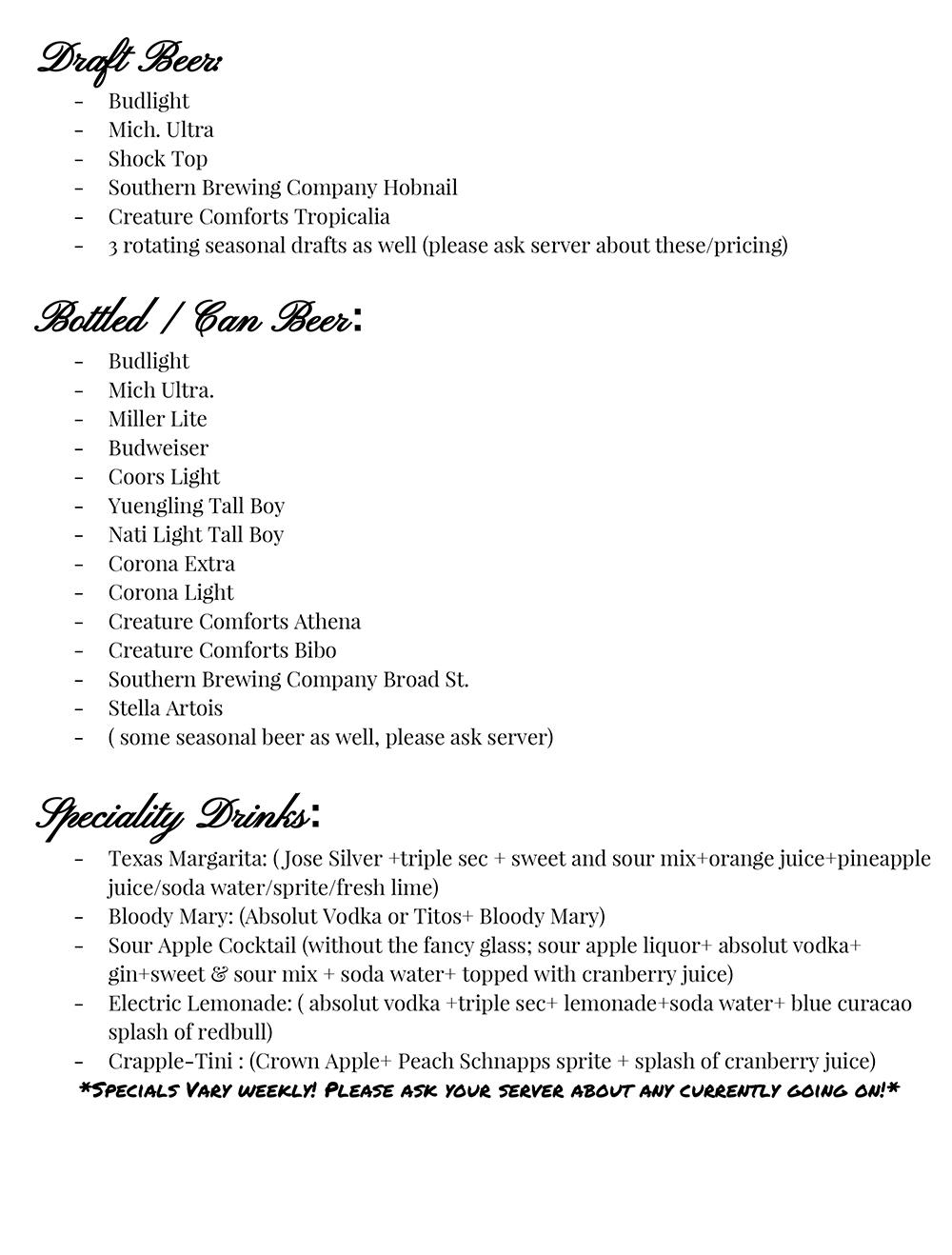 butt hutt bar menu